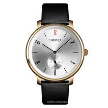 SKMEI 1398 Casual Leather Strap watches Men Water Resistant Quartz Watch