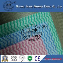 Tissu non-tissé de Spunlace de trois couleurs pour le nettoyage de cuisine de famille