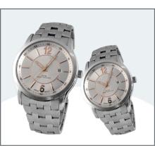 Hochwertige Edelstahl-Paar-Uhren, Quarzuhr 15183