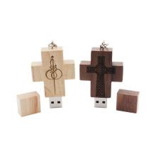 Unidad flash USB a granel de madera cruzada