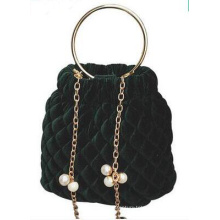 Metal Chain Bucket Velet Lady′s Handbag Wzx23133