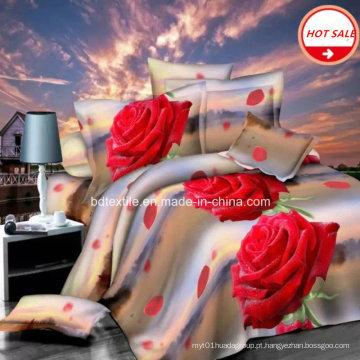 100% poliéster microfibra tecido escovado para cama folha 3D