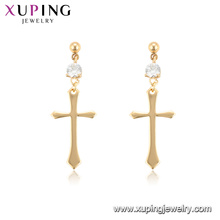 96936 xuping 18K gold color hoop wholesale cross women earrings