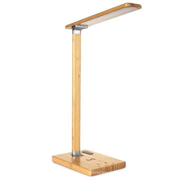 LED Wood Desk Lamp Touch Control Table Lamp with Wireless Chager USB Charging Port Swing Arm Reading Task Lights for Office