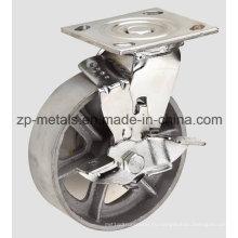 Сверхмощный 4 дюймов с тормозом чугуна колесо Рицинуса