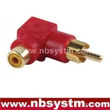 Conector RCA de ângulo reto para adaptador de tomada RCA vermelho