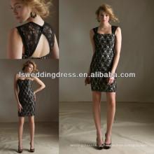 HB2028 Lindo vestido de dama de renda preta com buraco da fechadura