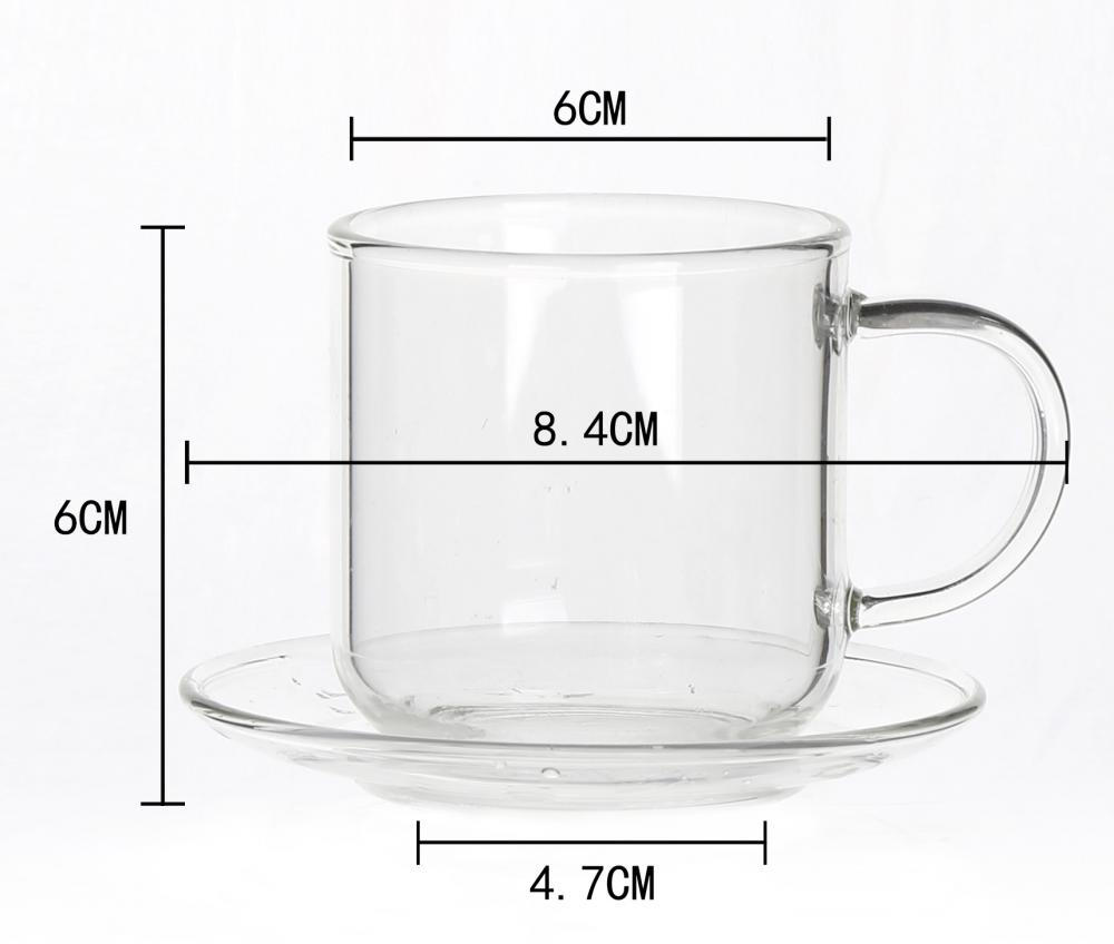 single wall small glass tea cup with saucer