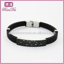 Schwarze Männer Silikon Armband Silikon Armband Großhandel Lederarmbänder für Männer
