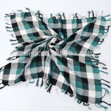Fashion mens 100 cotton square tassel scarf