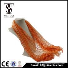 Neue Frauen arbeiten orange Viskose und Nylon Quasten Schal Schal