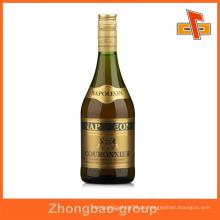 Guangzhou Lieferanten Großhandel Druck und Verpackung benutzerdefinierte selbstklebend goldenen Etikett für Weinflaschen