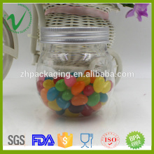 PET vacíos de almacenamiento de caramelos transparente de 250 ml redonda jarra de plástico con tapa de aluminio