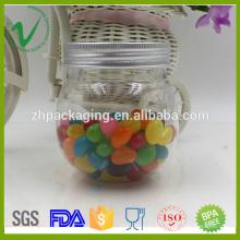 PET vide de stockage bonbon transparent 250 ml rond en plastique avec couvercle en aluminium