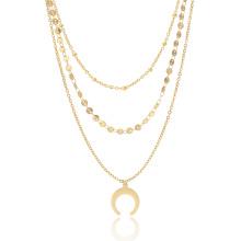 2018 chapado en oro de verano de múltiples capas Chocker Moon collar para mujer