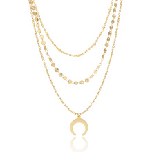 2018 Summer Gold Plated Multi Layer Chocker Moon Necklace For Women