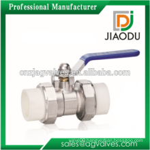 factory supply DN20 DN25 DN32 1 1/4 1.2 3/4 inch for water oil or gas brass ppr double union ball valve with steel handle