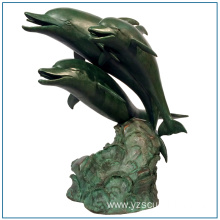 Life Size Brass Dolphin Sculpture for Sale