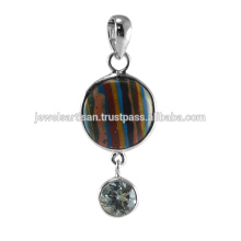 Rainbow Calsilica And Sky Blue Topaz Gemstone 925 Sterling Silver Pendant