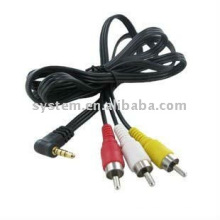 5 ft 1.5m Mini AV 3.5mm 4 pole plug to 3 RCA plug male A/V Composite video cable