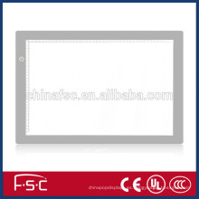 Caja de luz de tablero de dibujo popular vidrio led con iluminación regulable