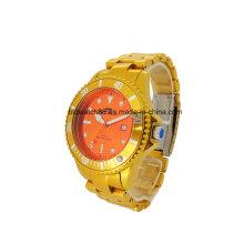 Tom de ouro metálico do relógio de pulso do desenhista luxuoso dos homens