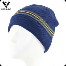 100% Acrylic Winter Stripe Knitted Men′s Beanie
