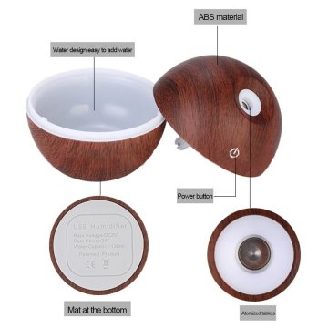 130ml Ultrasonic Cool Mist Humidifier With Solid Wood