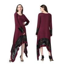 Premium polyester robe femmes fantaisie nouveau design maxi dentelle robe abaya