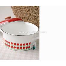 C-Stahl-Emaille Beschichtung Strait Pot & Full Decal rot Kochgeschirr