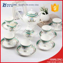 Azul real azul hueso té de café juegos de té para la boda y regalo