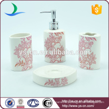 Promocionais flores vermelhas cerâmica Bath Spa Kit Para Feminino