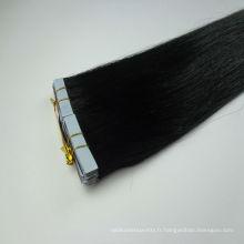 En gros usine Double bande droite noire dessinée cheveux vierges pointe plate extension de cheveux par le fabricant