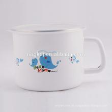Emaille Milch und Teebecher mit Deckel SS Rand