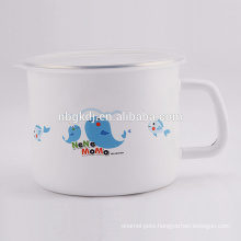 Enamel milk and tea mugs with lid SS edge