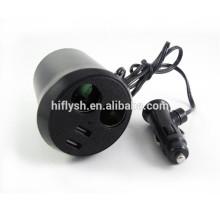 HF-LY0186 (107) Encendedor de cigarrillos de automóvil recargable IPAD uno dos uno puntos dos IC de actualización de copa USB doble (certificado CE)