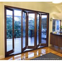 Woodwin doble vidrio templado de madera y aluminio puerta plegable compuesto