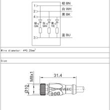 Conector LED recto hembra M8 de 3 pines