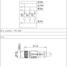 M8 female straight LED connector 3 pin