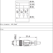Conector LED reto fêmea M8 de 3 pinos