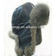 Véritable chapeau de fourrure de lapin avec chapeau d'hiver de mode teint en cuir de qualité supérieure