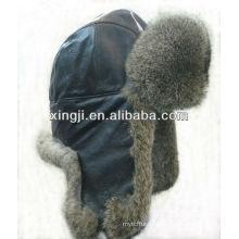 Настоящее кролик меховая шапка с кожаным верхом качества окрашенных зимняя мода шляпа
