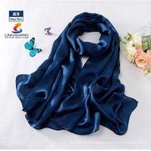 LINGSHANG W4159 moda elegante acessórios de moda longa cor sólida lenço de seda hijab