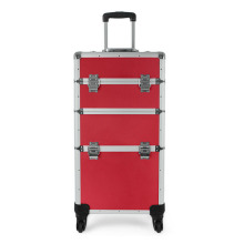 Salable Red Makeup Train Case with Trolley (HX-A0742)