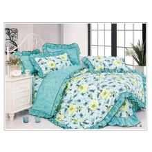 100 Хлопчатобумажная принцесса Комплект постельного белья с цветочным рукодельным лоскутом Bedskirt