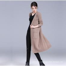 Женщин 100%кашемира вязать длинным дизайн пальто сплошной цвет V шеи с карманами кардиган