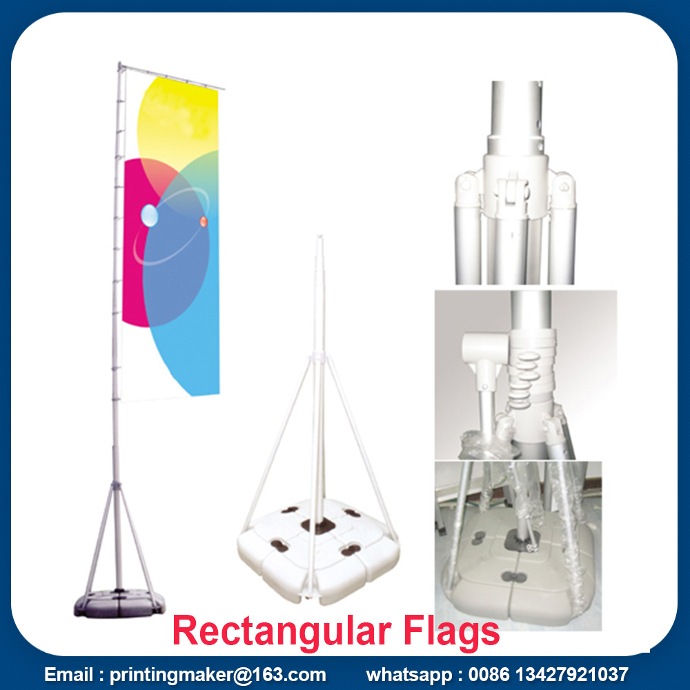 Outdoor Rectangular Flying Flags with Water Filled Base