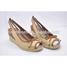 2015 neue Mode Keile Sandalen Leinen flachen Bogen Mund Peep-Toe Hanf Schuhe Damenschuhe