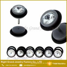 Schwarz Weiß Farbe Acryl Ohr Fake Plugs Gauge
