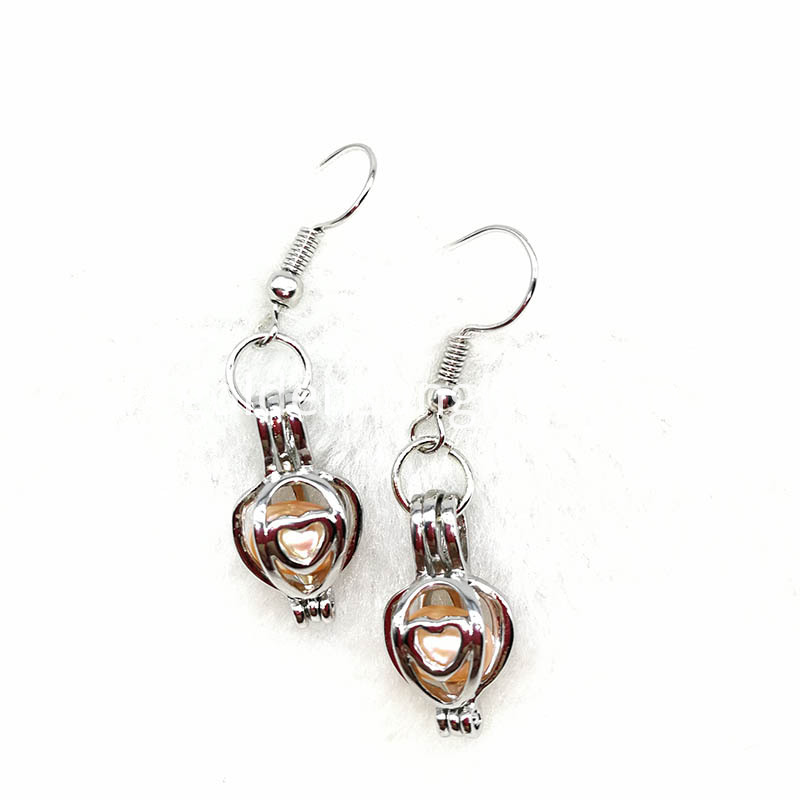 Heart Pearl Cage Pendant Earrings